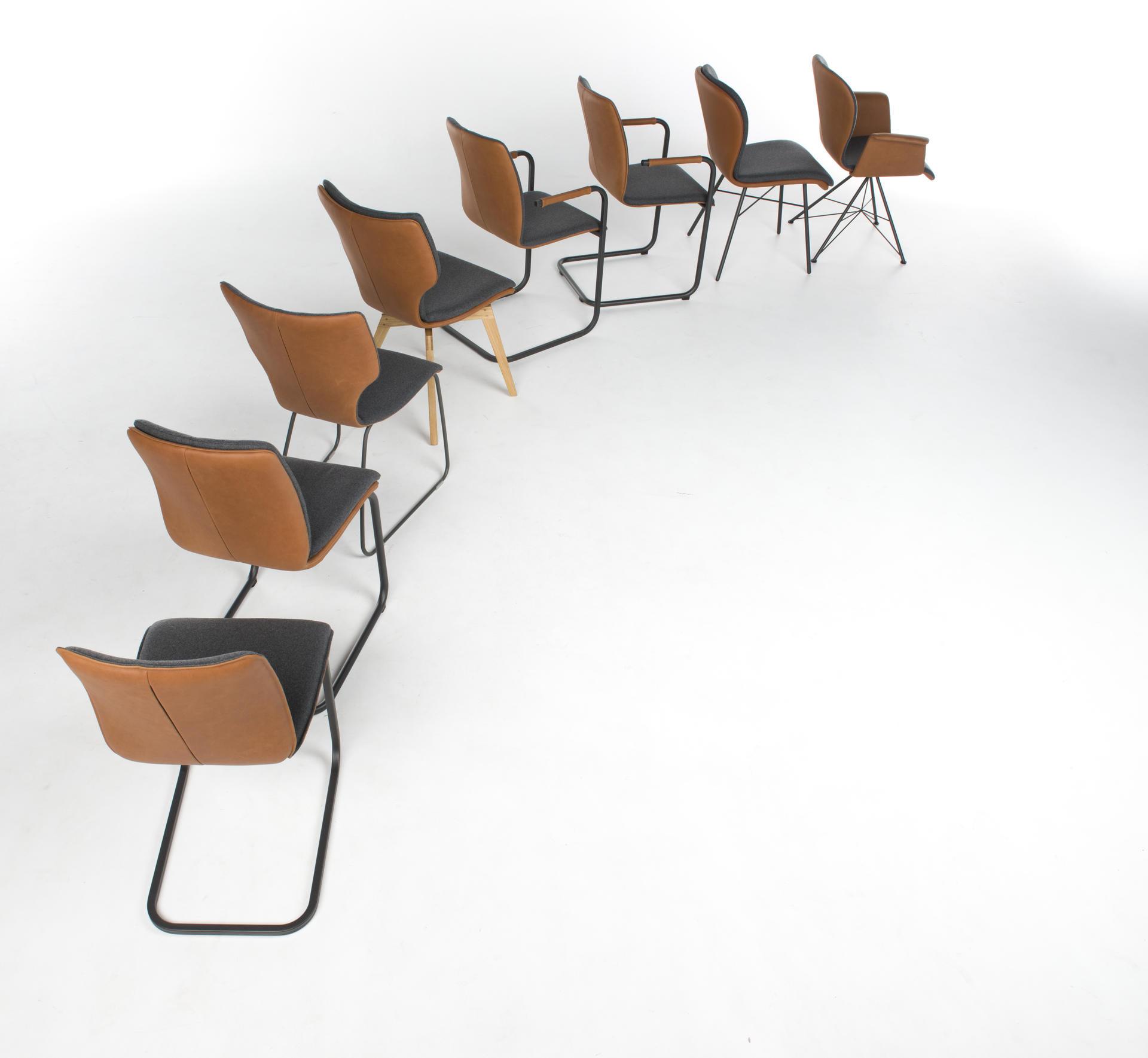 Стулья Tara  с различными основаниями и сидениями.