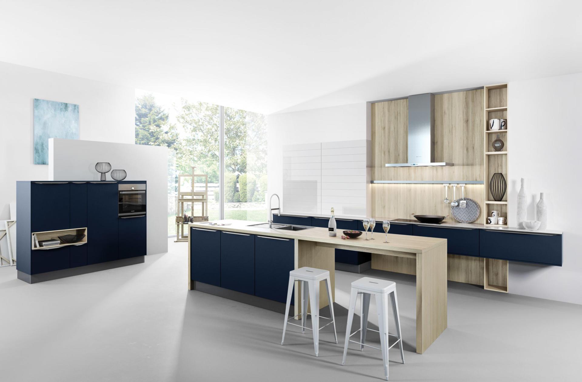 Кухни Häcker, Velvet blue lacquer | 6000