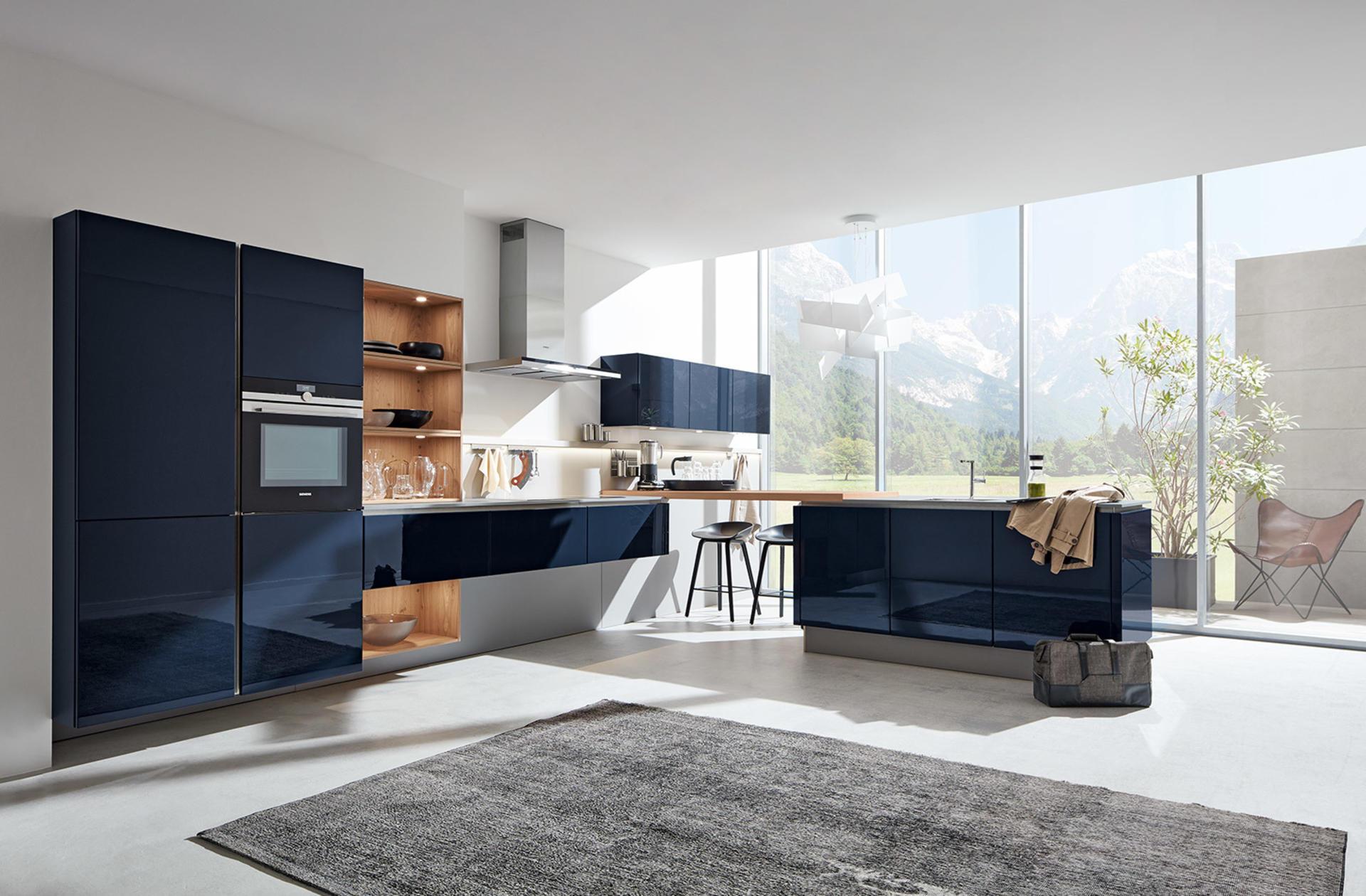 Кухни Häcker, Velvet blue high gloss lacquer   4030 GL
