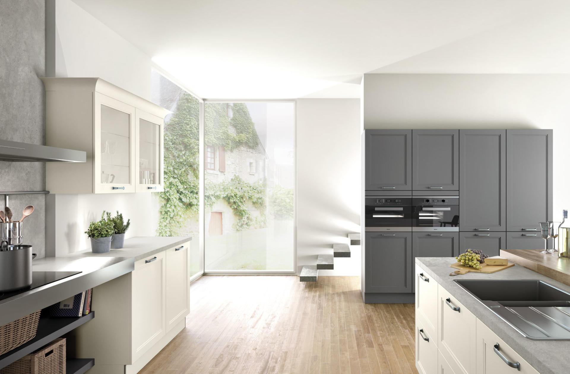 Кухни Häcker, Magnolia satin lacquer | Lava grey satin lacquer | 5035, фото 2