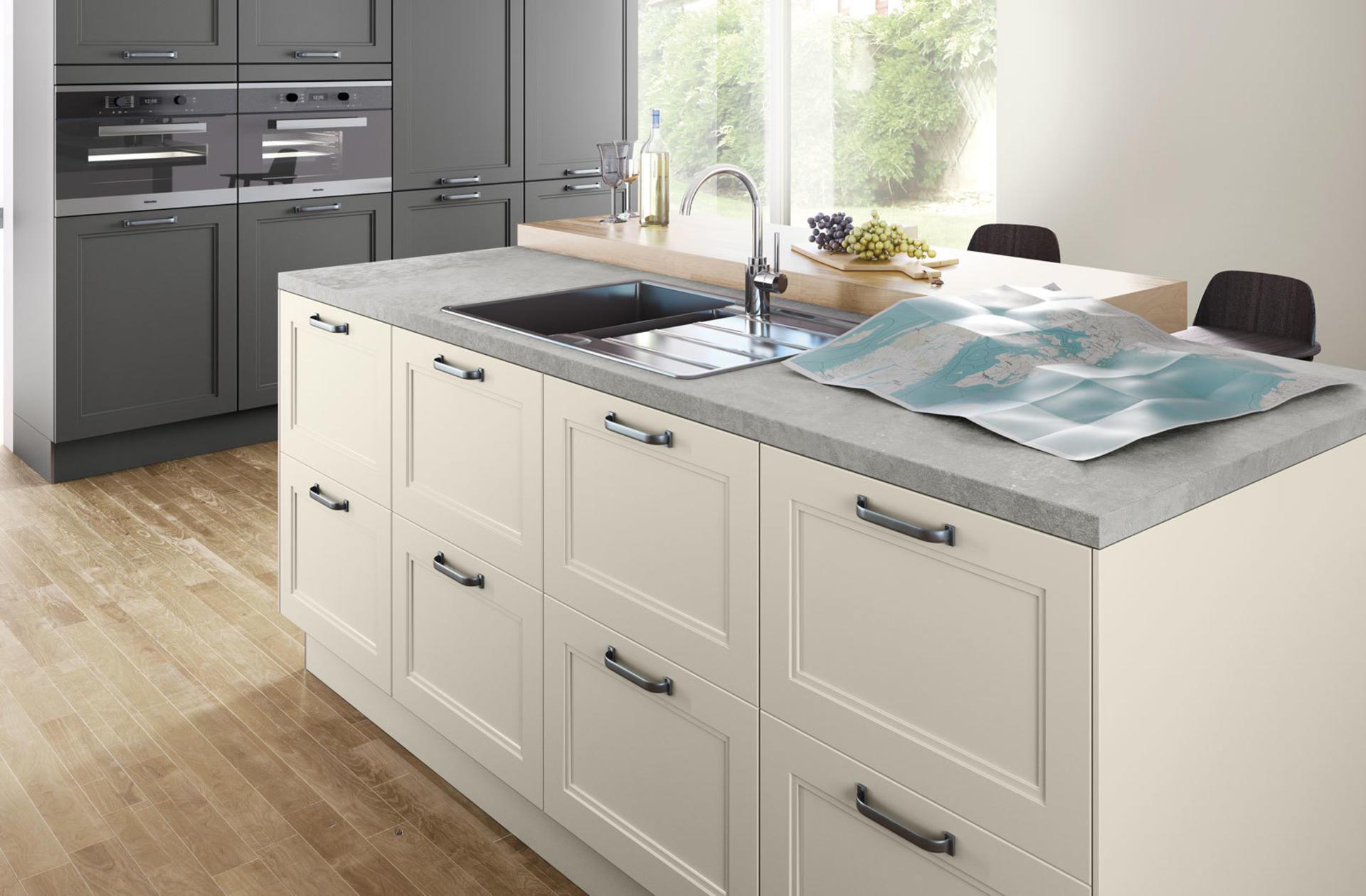 Кухни Häcker, Magnolia satin lacquer | Lava grey satin lacquer | 5035, фото 3