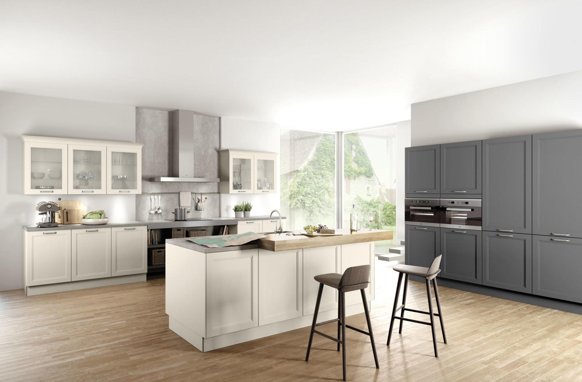 Кухни Häcker, Magnolia satin lacquer | Lava grey satin lacquer | 5035