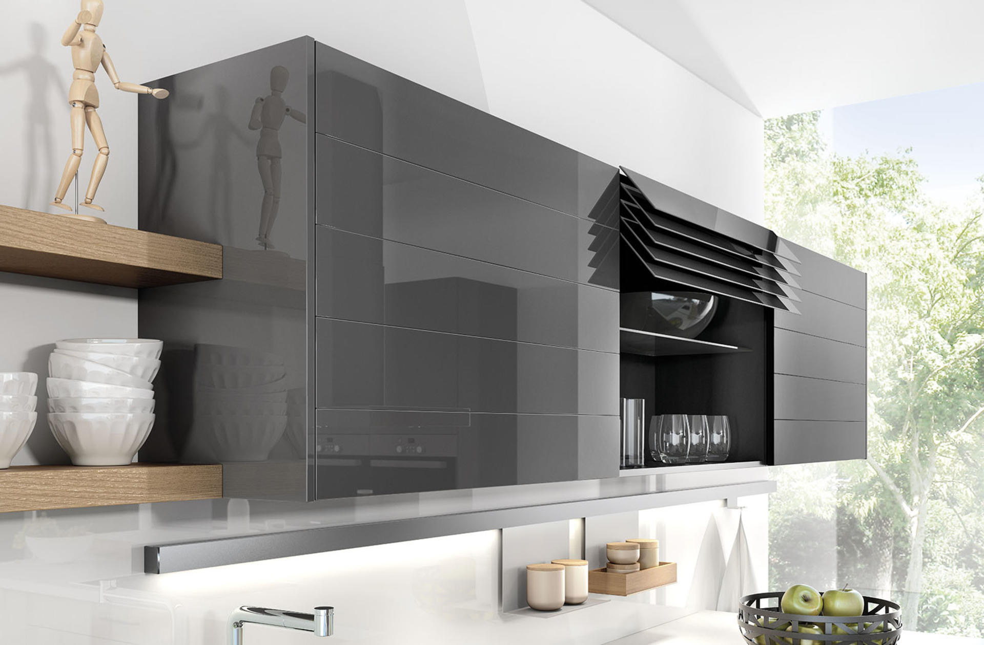 Кухни Häcker, Provence ash | Lava grey - 1095 | 1080, фото 2